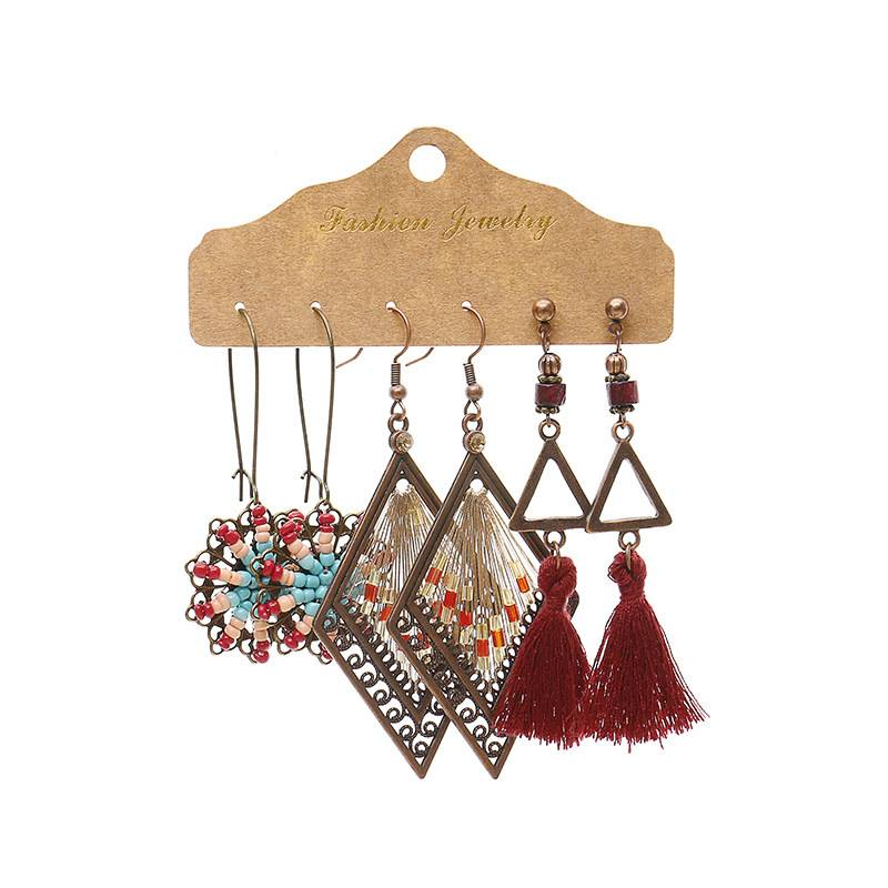 Vintage Bohemian Bronzed Earrings Set For Women Turquoise Geometric Tassel Earring Jewelry