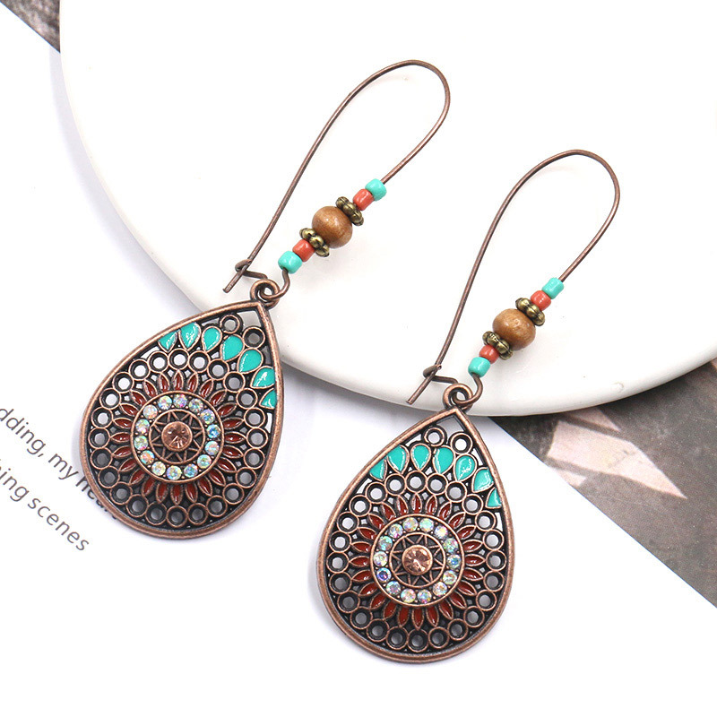 High Quality for Studs Earring For Women - Vintage Bronze Earrings, Turquoise Earrings, Turquoise Jewellery, Boho, Turquoise, Bohemian, Ethnic, Gypsy, Hypoallergenic E123 – Sybon detail pictures