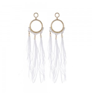 OEM Supply Gold Necklace - Natural Ostrich Hair Dangle Earring Elegant Feather Earring E314 – Sybon
