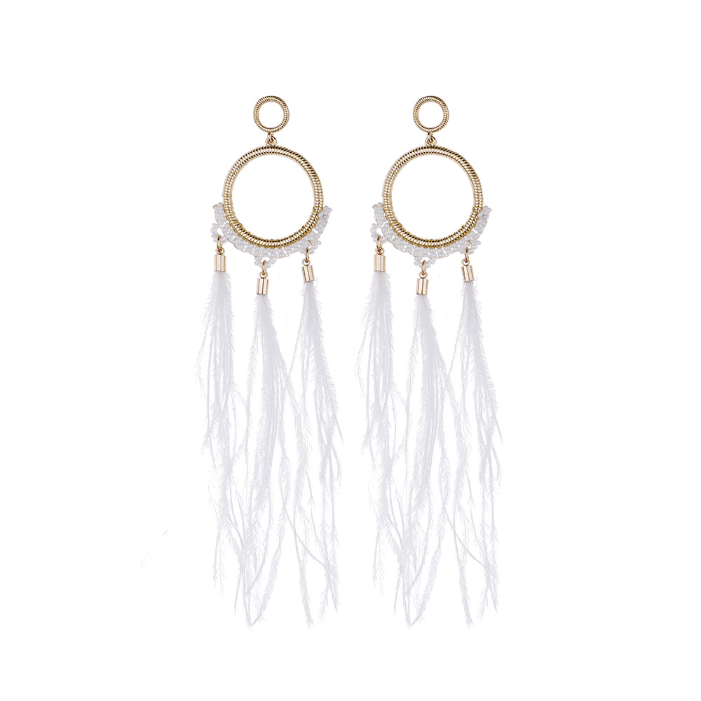 New Delivery for Charms Pandora - Natural Ostrich Hair Dangle Earring Elegant Feather Earring E314 – Sybon