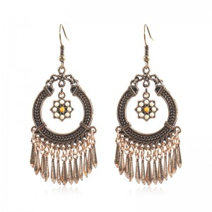 Factory wholesale Aesthetic Earrings - Bohemian Gypsy Ethnic dangle earrings with Metal Tassels Hypoallergenic E129 – Sybon