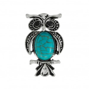 China wholesale Rings For Women - Retro Silver Owl Shape Turquoise Ring Adjustable Ring R103 – Sybon