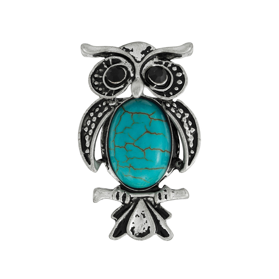 Hot sale Factory Bangles For Women With Charms - Retro Silver Owl Shape Turquoise Ring Adjustable Ring R103 – Sybon