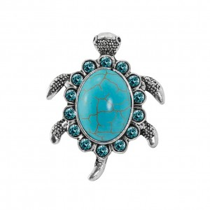 factory low price Silver Charm Bracelet - Retro Silver Turtle Shape Turquoise Ring Adjustable Ring R102 – Sybon