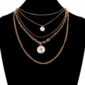 Good User Reputation for Bracelet - 5 Layers Coin Necklace European collarbone chain popular coin multi-layer Necklace N103 – Sybon