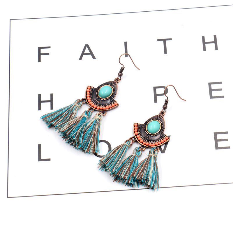 China Cheap price Butterfly Earrings - Vintage Inspired Turquoise Tassel Earrings Ethnic Gypsy Hypoallergenic E219 – Sybon detail pictures