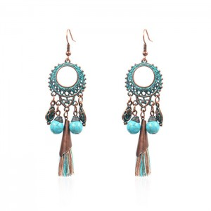 Vintage Inspired Bohemina Turquoise Tassel Earrings Ethnic Gypsy Hypoallergenic E221