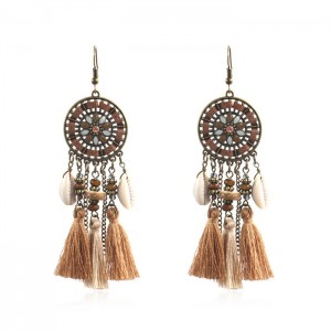 2020 China New Design Pearl Earrings - Retro Round Flower Disc Shell Tassel Earrings Ethnic Gypsy Hypoallergenic E218 – Sybon
