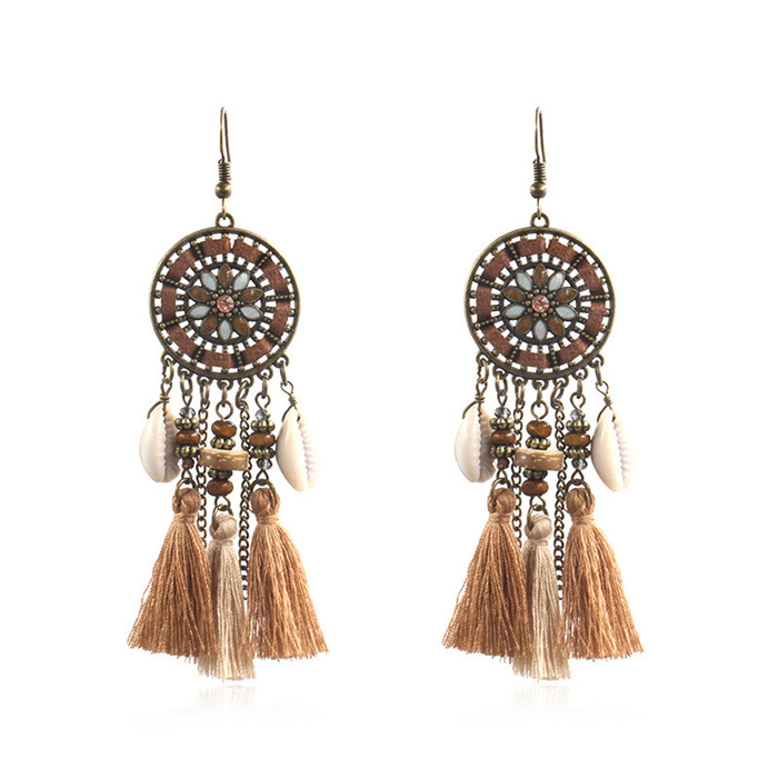 Wholesale Geometric Earrings - Retro Round Flower Disc Shell Tassel Earrings Ethnic Gypsy Hypoallergenic E218 – Sybon
