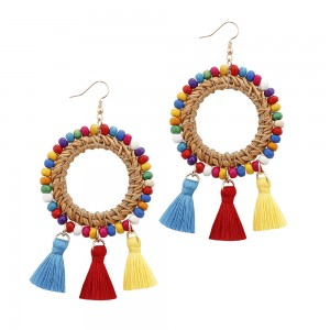 OEM/ODM China African Beaded Bracelets - Original Bohemian circle Tassel Earrings European  rattan Tassel Earrings Gypsy Hypoallergenic E301 – Sybon