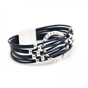 Hand woven leather bracelet B109