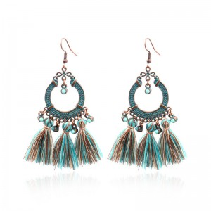 Super Purchasing for Pandora Charms - Retro Geometric Pattern Tassel Earrings Ethnic Gypsy Hypoallergenic E230 – Sybon