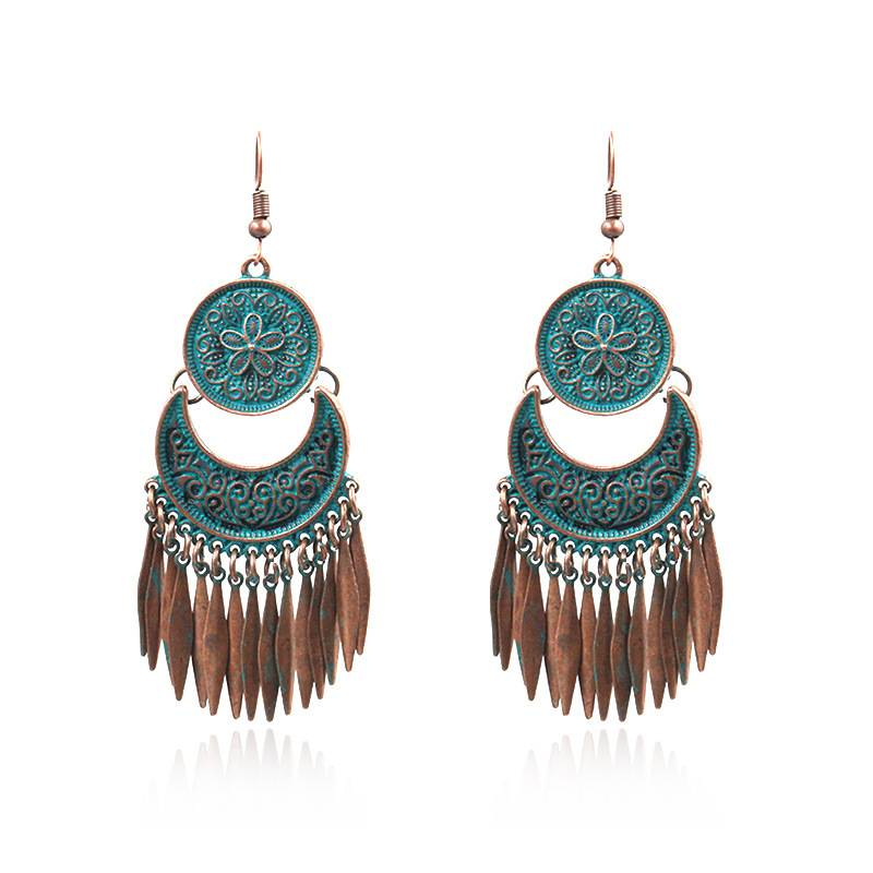 Popular jewelry Bohemian carved pattern sequins fringed women's exaggerated Earrings E159