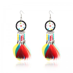 Free sample for Earrings Gold Plated - Personalized colorful dream catcher feather Pendant Earrings women Bohemian handmade jewelry E203 – Sybon