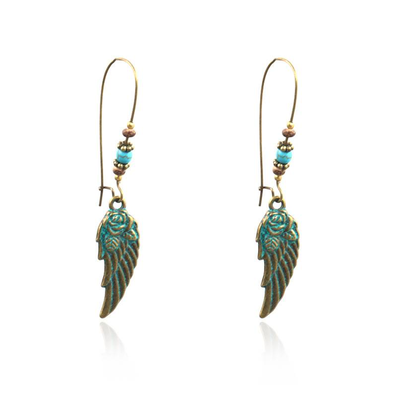 Antique Bohemian Vintage Antique bronze Wing Dangle Earrings for women Ethnic earrings  E164
