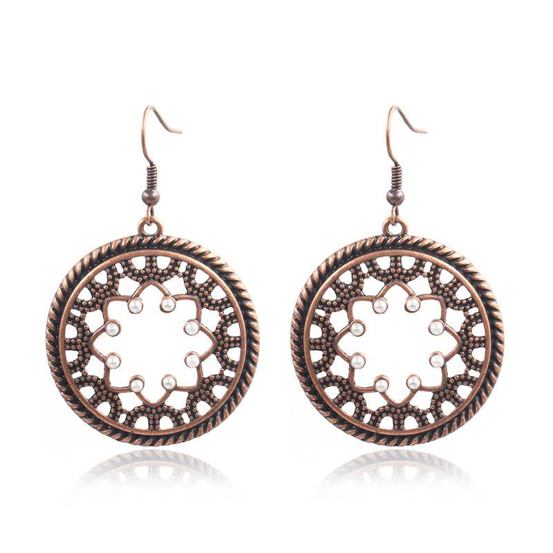 Turquoise stone Mandala  handmade vintage Earrings Gypsy Earrings Ethnic Earrings E157