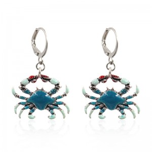 Blue Crab Enamel Earrings Beach Sand Sun Summer Tropical Island Jewelry E208