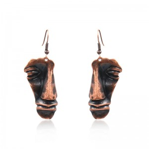 2020 High quality Butterfly Earrings - Copper Earrings FACE Primitive Mask Design Pierced Dangle Earrings E206 – Sybon