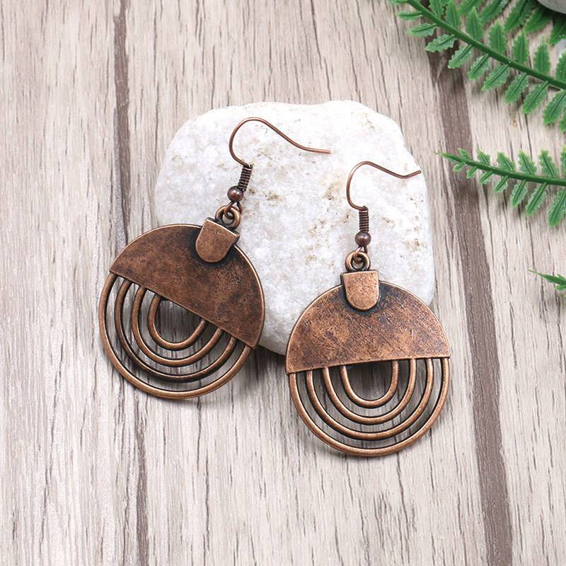 Vintage Bohemia Circular Hollow earrings Earrings for women Charm Antique bronze Hollow Dangle earrings 2020 Women's jewelry  E165