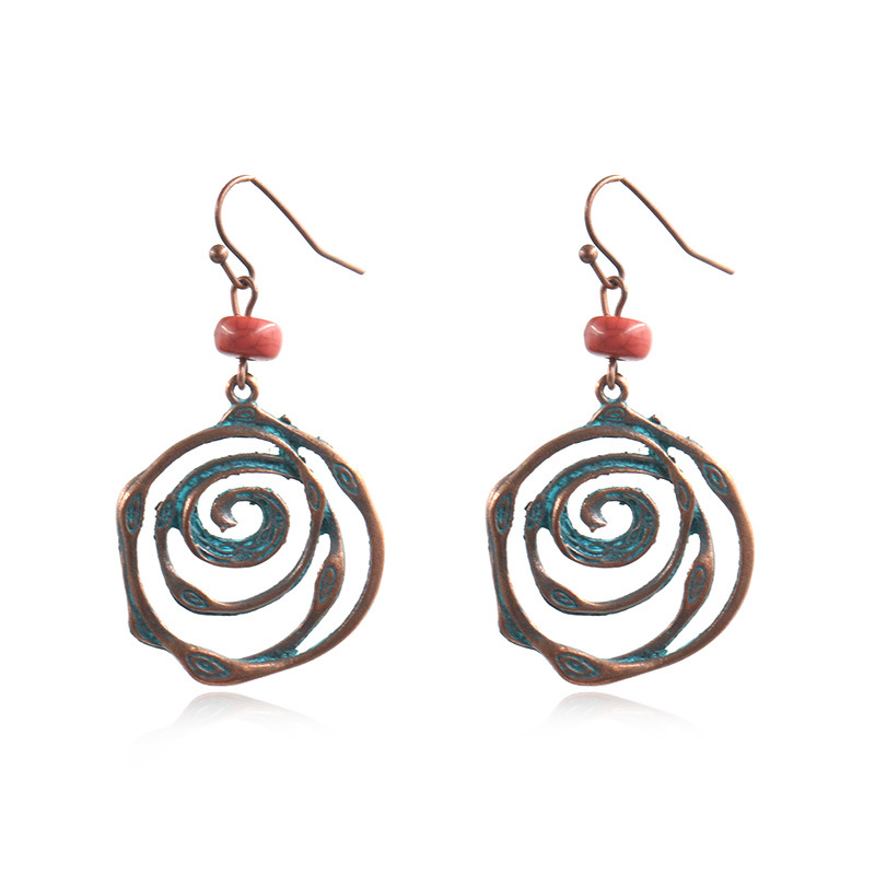 Hot-selling Stud Earrings - Multi swirl spiral circles rounds earring Unique bohemian boho ethnic vintage beads hanging earrings for women jewelry wholesale E187 – Sybon