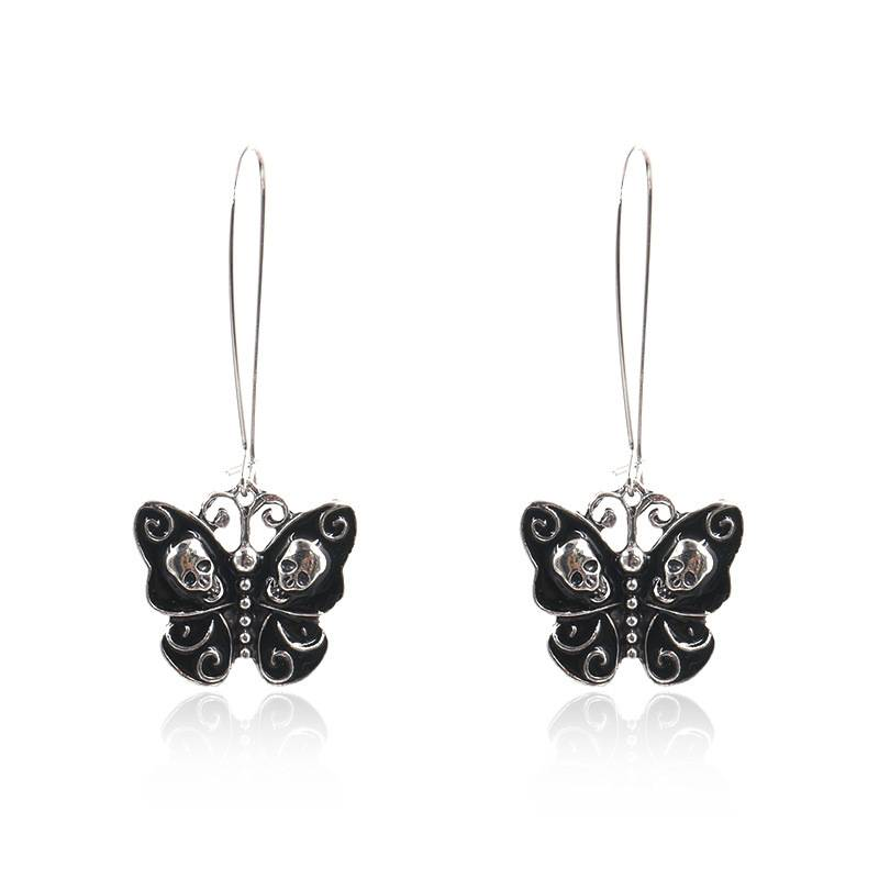 Retro creative butterfly skull earrings E161 Featured Image