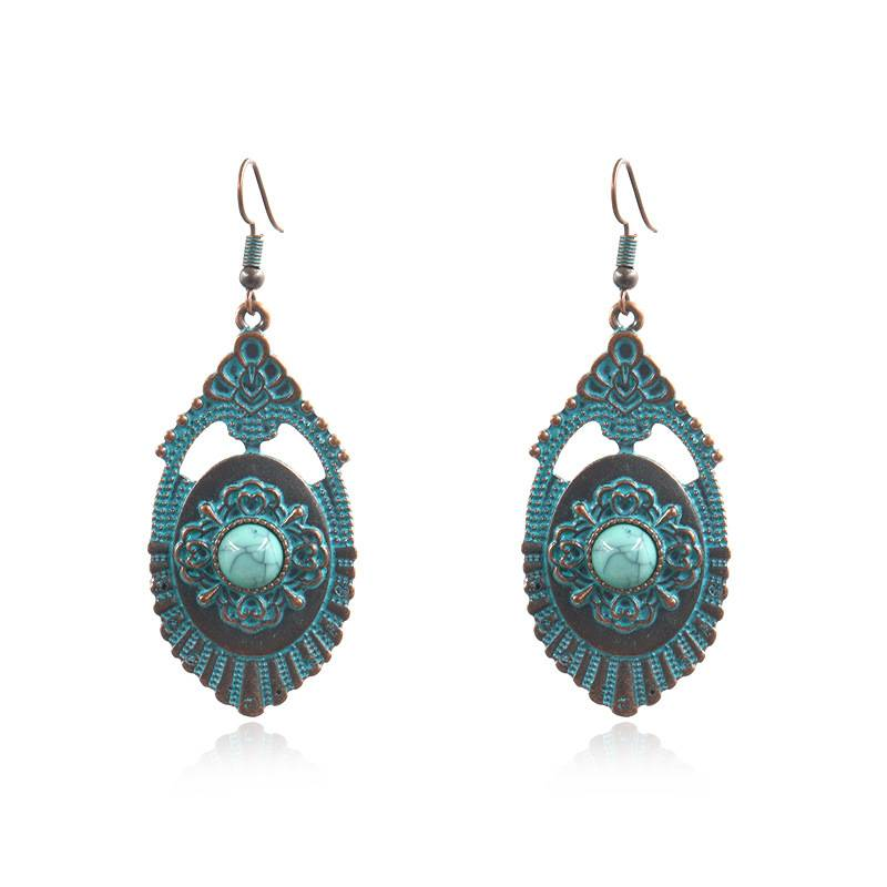 2020 High quality Statement Earrings - Boho Chic Earrings-Boho Earrings Turquoise-Boho Earrings Dangle-Gifts for Women Earrings-Bohemian Turquoise and bronze Earrings E131 – Sybon