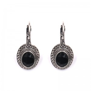 Professional Design Natural Stone Earrings - Vintage Statement Earrings Round Shape  Black Gem Retro Clip-on Earrings E210 – Sybon
