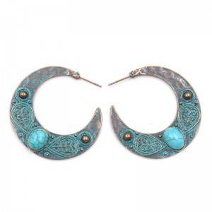 OEM/ODM Manufacturer Tribal Earrings - Turquoise stone statement earrings moon shape boho earrings E151 – Sybon