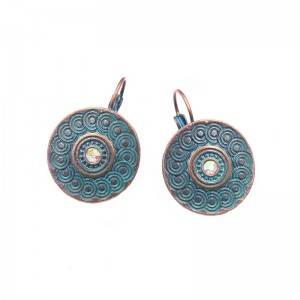 Ethnic carving round shaped eardrop earrings for women Bohemian  dangle drop earring green color jewelry E242