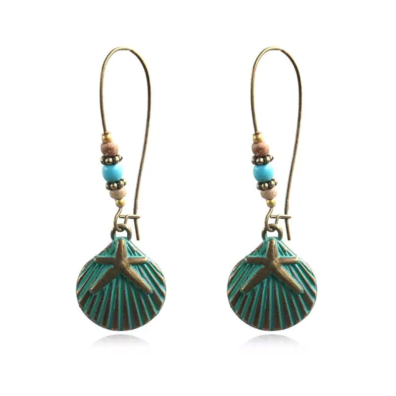 China Factory for Angel Wings Earrings - Antique Bronze Dangle Drop Earrings with Turquoise earring, bohemian unique dangling minimalist modern light weight earrings E186 – Sybon