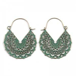 Well-designed Earrings Korean Style - Geometric alloy pendant cut out pattern carved half round Earring E173 – Sybon