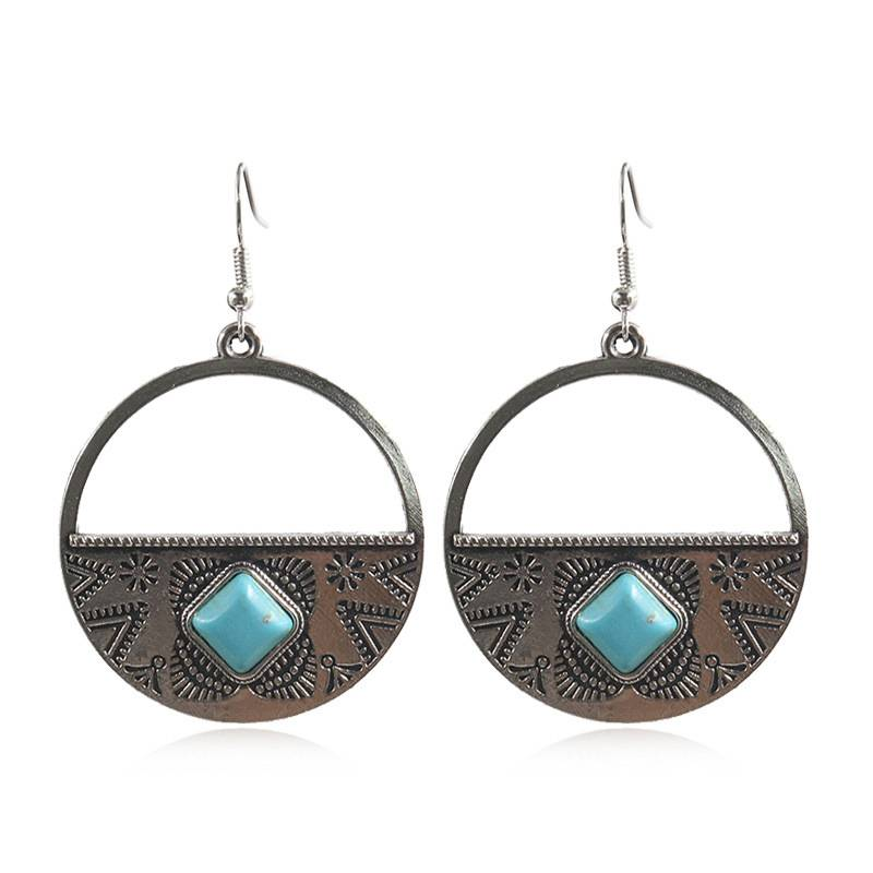 Factory Price For Exaggerated Earrings - New bohemian big round circle half moon pendant drop earrings Boho ethnic totem blue natural stones earrings E185 – Sybon