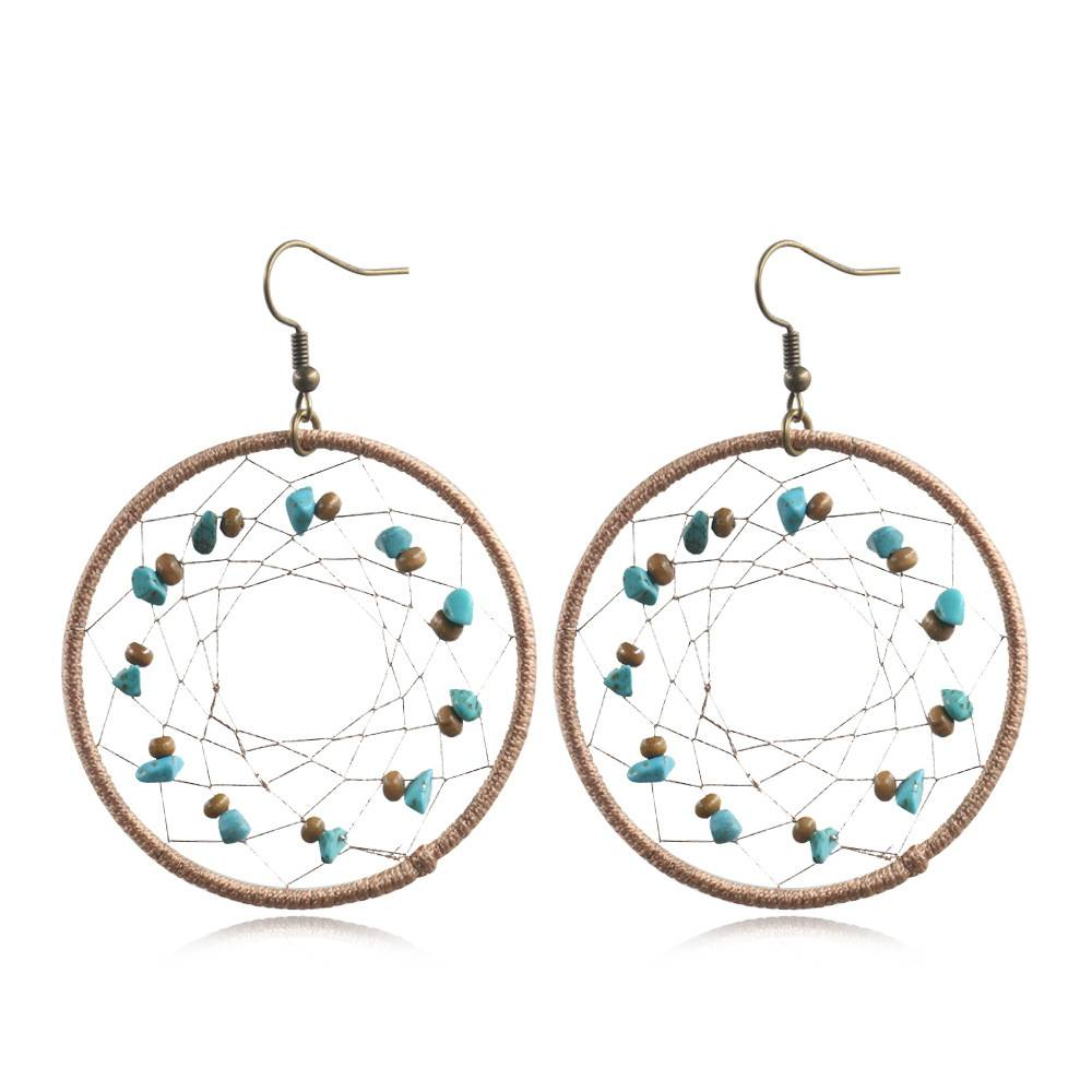 Aztec Earrings dreamcatcher Tribal Earrings cotton thread Turquoise Earrings  E162