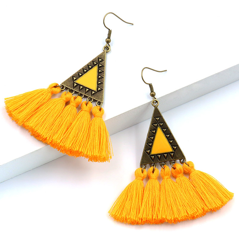 New Fashion Design for Fashion Turquoise Earrings - Vintage Triangle Pendant Bohemian Tassel Earrings Ethnic Gypsy Hypoallergenic E214 – Sybon detail pictures