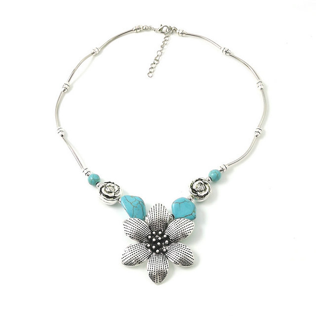 Hot-selling Fashion Necklace - Statement Necklace – Western Statement Necklace – Turquoise Statement Necklace – Cowgirl Chic Necklace- Silver Pendant Necklace -Turquoise N108 ...