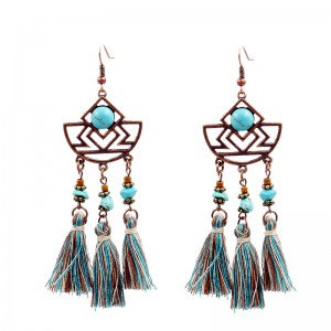 Retro Geometric Cutout Tassel Earrings Ethnic Gypsy Hypoallergenic E229