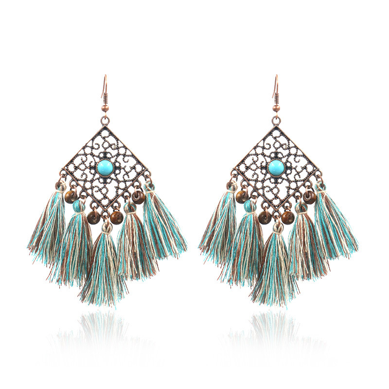New Fashion Design for Fashion Turquoise Earrings - Retro Geometric Diamond Hollowout Tassel Earrings Ethnic Gypsy Hypoallergenic E231 – Sybon