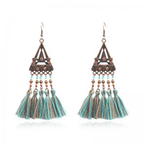 High definition Turquoise Earrings - Vintage Inspired Geometric triangle Turquoise Tassel Earrings Ethnic Gypsy Hypoallergenic E222 – Sybon