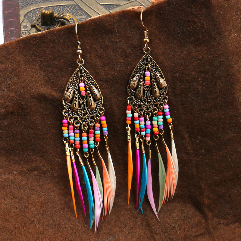 Vintage Colorful Bohemian Rainbow Tassel Earrings Ethnic Gypsy Hypoallergenic