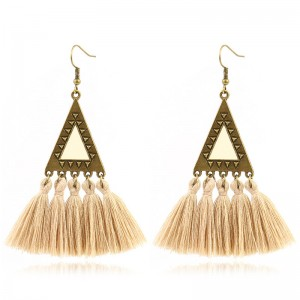 High Quality Earrings Women - Vintage Triangle Pendant Bohemian Tassel Earrings Ethnic Gypsy Hypoallergenic E214 – Sybon