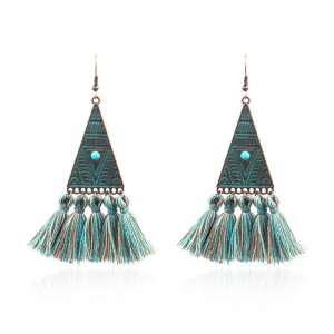 China Factory for Angel Wings Earrings - Vintage Inspired Geometric triangle Turquoise Tassel Earrings Ethnic Gypsy Hypoallergenic E223 – Sybon