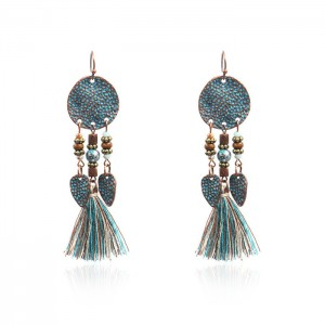 Factory Price Tear Drop Earring - Retro Round Disc Hammered Tassel Earrings Ethnic Gypsy Hypoallergenic E227  – Sybon
