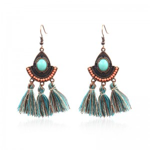 Vintage Inspired Turquoise Tassel Earrings Ethnic Gypsy Hypoallergenic E219