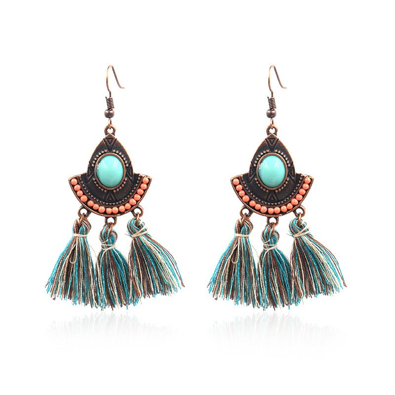 New Fashion Design for Feather Earrings For Women - Vintage Inspired Turquoise Tassel Earrings Ethnic Gypsy Hypoallergenic E219 – Sybon