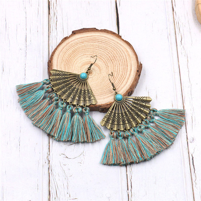 Vintage Inspired Geometry Sector Turquoise Tassel Earrings Ethnic Gypsy Hypoallergenic E220