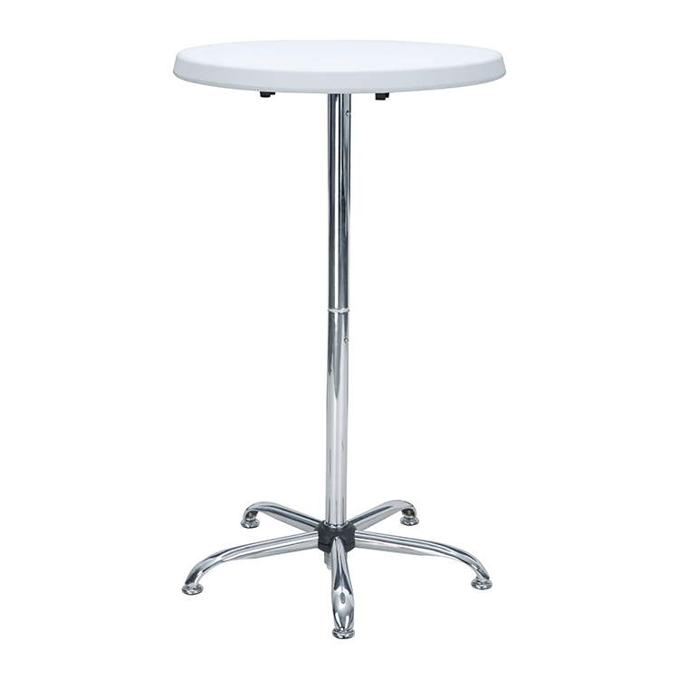 2020 new design modern commercial 70CM round cocktail coffee plastic white high folding bar table Featured Image