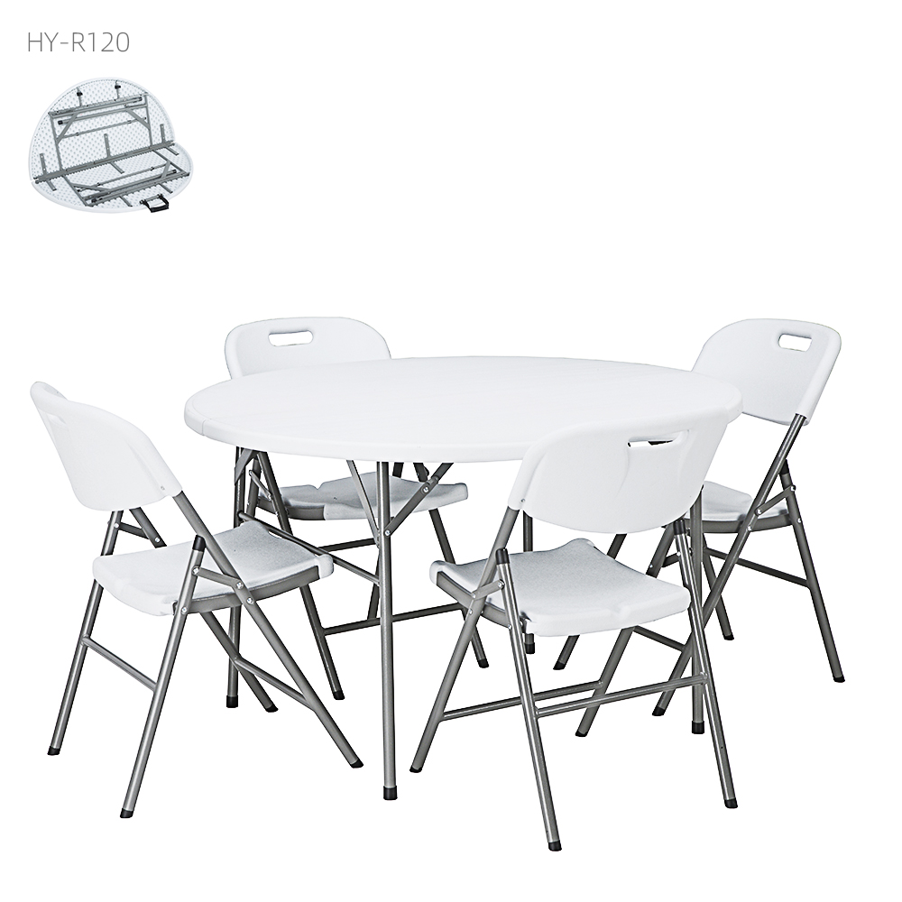 China Wholesale Small Round Folding Table Factory - folded table with 4 chair Wholesale Portable Outdoor 4 people white round HDPE cheap plastic folding table for wedding – JIANYE