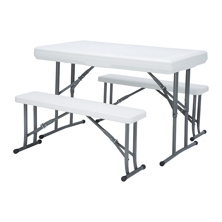 Beer table – New Design blow moulded Portable Plastic folding picnic table set 3 in one for outdoor use – JIANYE
