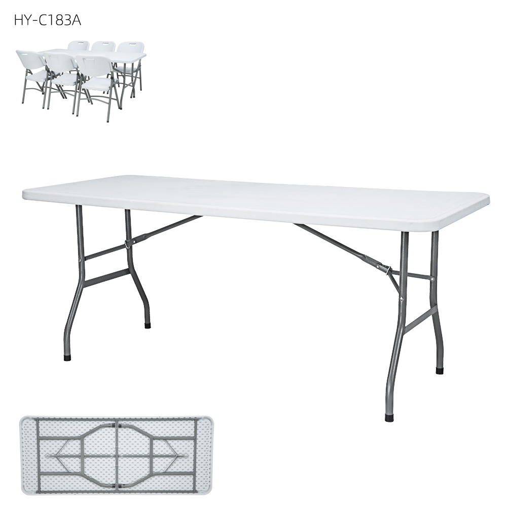 China Wholesale Solid Wood Folding Table Manufacturers - Wholesale popular commercial hdpe 6FT rectangular outdoor plastic folding top picnicc table manufacturers – JIANYE