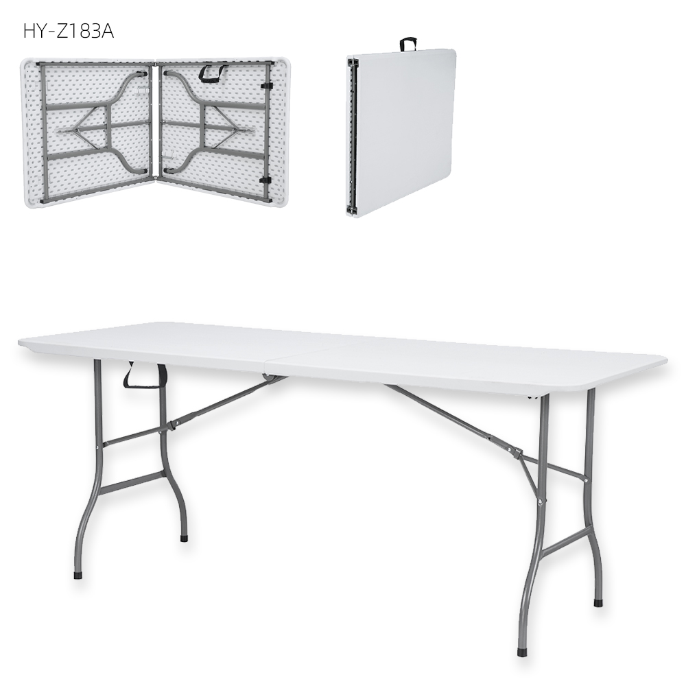 China Wholesale Plastic Folding Table Set Suppliers - indoor outdoor use wholesale 6ft white plastic portable camping folding coffee dinning table manufacturers – JIANYE